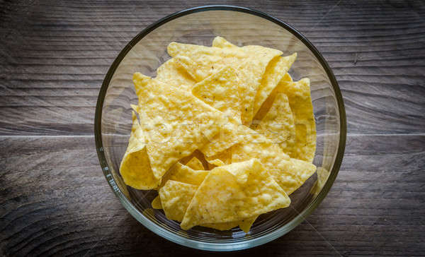 Heap of corn chips in the glass bowl on the wooden background Stock photo © Alex9500