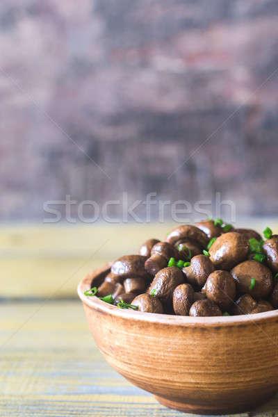 Tál szója balzsam pörkölt gombák zöldség Stock fotó © Alex9500