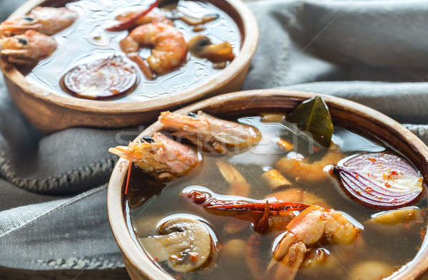 Two bowls of thai tom yum soup Stock photo © Alex9500