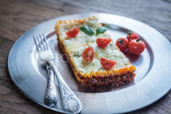 Lasagna metal piatto sfondo formaggio cena Foto d'archivio © Alex9500