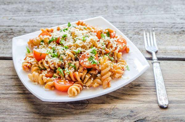 Todo calor pasta queso tomates cherry fondo Foto stock © Alex9500