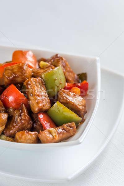 Sweet aigre porc alimentaire vert rouge Photo stock © Alex9500