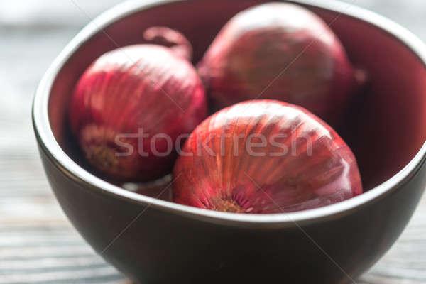 Tál piros hagymák tábla mezőgazdaság friss Stock fotó © Alex9500