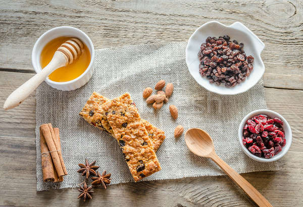Homemade granola bars on the sackcloth Stock photo © Alex9500