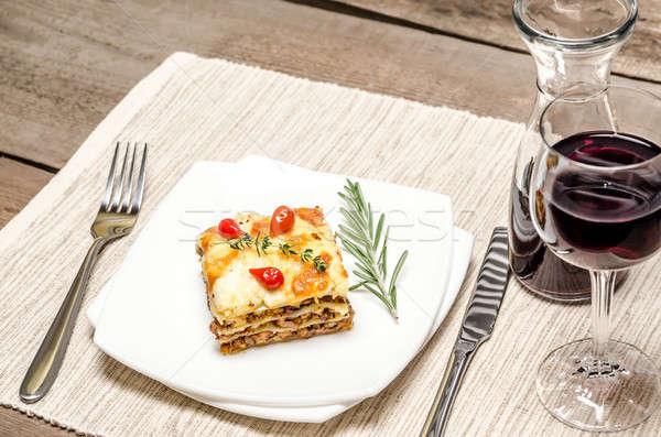 Lazanya ahşap masa gıda şarap restoran Stok fotoğraf © Alex9500