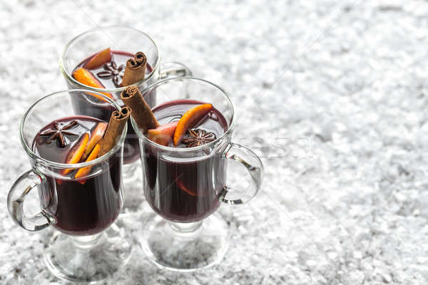 Glasses of mulled wine in snow Stock photo © Alex9500