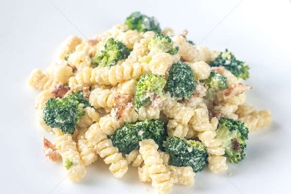 Pasta with broccoli, bacon and alfredo sauce Stock photo © Alex9500