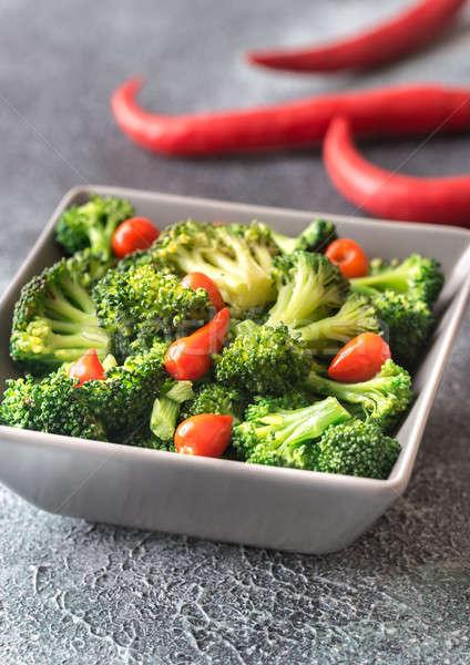 Ciotola broccoli chili sfondo mangiare bordo Foto d'archivio © Alex9500