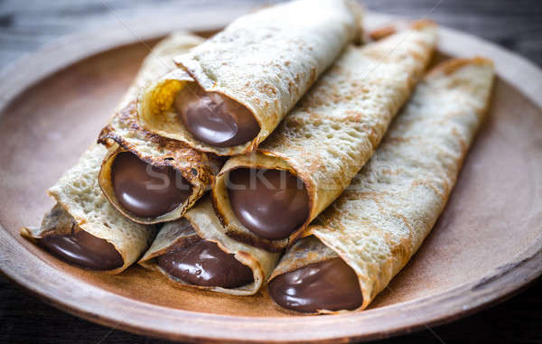 Chocolade room restaurant plaat hot dessert Stockfoto © Alex9500