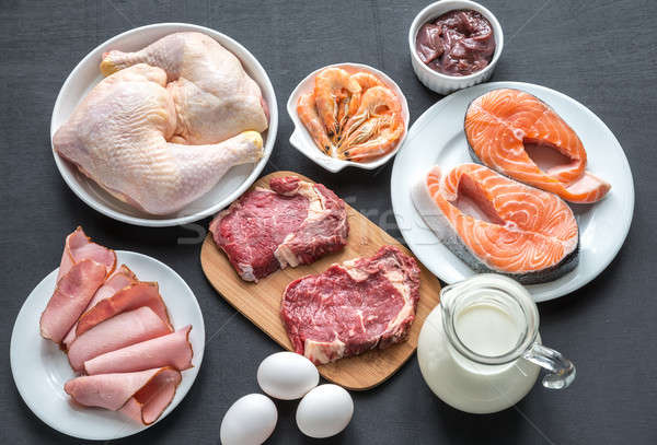 Protein diet: raw products on the wooden background Stock photo © Alex9500