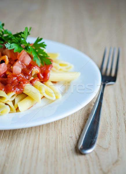 Makaróni tészta étel levél vacsora piros Stock fotó © Alex9500