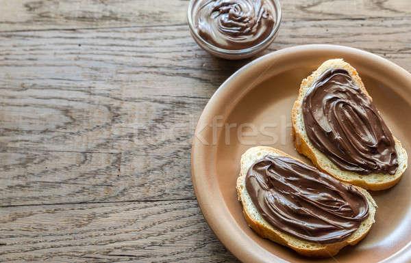 Tranches baguette chocolat crème espace énergie Photo stock © Alex9500