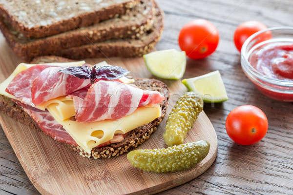 ストックフォト: サンドイッチ · ハム · チーズ · 赤 · 脂肪 · 食べ