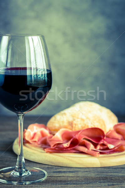 Red wine with prosciutto and ciabatta Stock photo © Alex9500