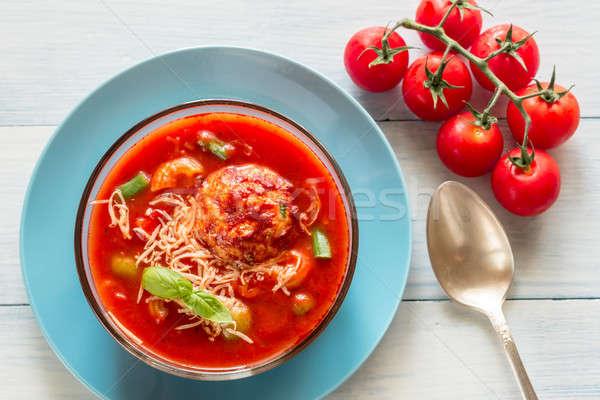 Adag leves étterem zöld tyúk tészta Stock fotó © Alex9500