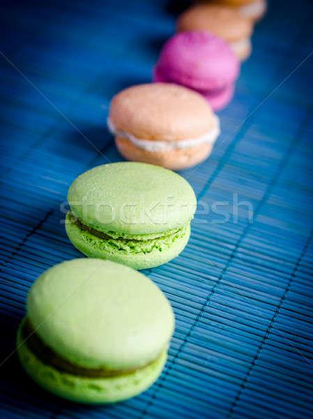 красочный французский macarons оранжевый зеленый конфеты Сток-фото © Alex9500