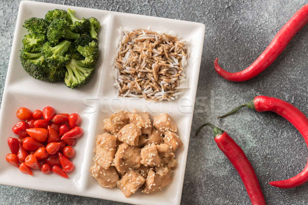 Broccoli and chicken stir-fry with rice and chili Stock photo © Alex9500