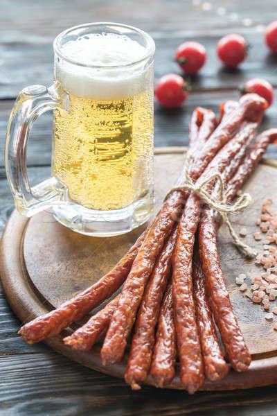 Fumado salsichas caneca cerveja mar carne Foto stock © Alex9500