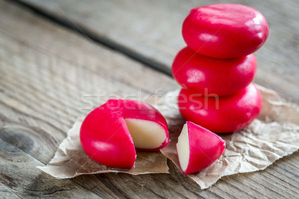 Stack of mini cheese on the wooden table Stock photo © Alex9500