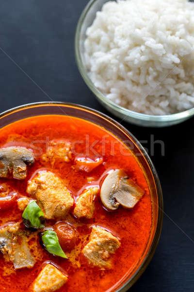 Thai rouge poulet au curry blanche riz lait Photo stock © Alex9500