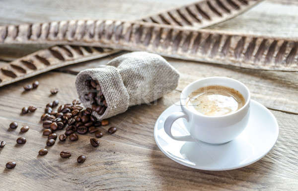 Cup of coffee with coffee beans Stock photo © Alex9500