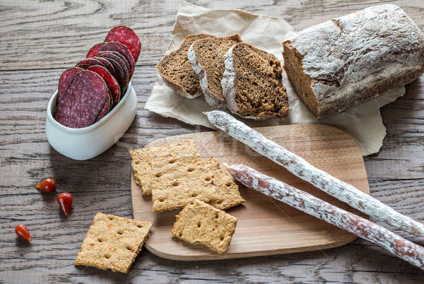 Salami with bread Stock photo © Alex9500