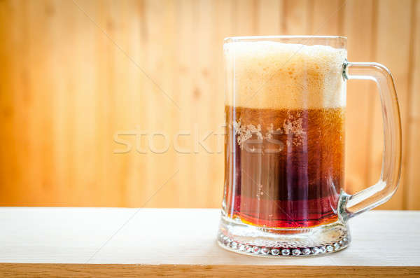 Bögre sötét sör fény asztal bár Stock fotó © Alex9500