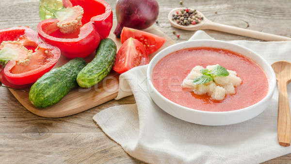 Portion of gazpacho with ingredients Stock photo © Alex9500