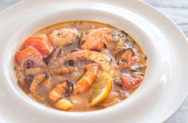 Foto d'archivio: Ciotola · francese · zuppa · frutti · di · mare · pesce · verde