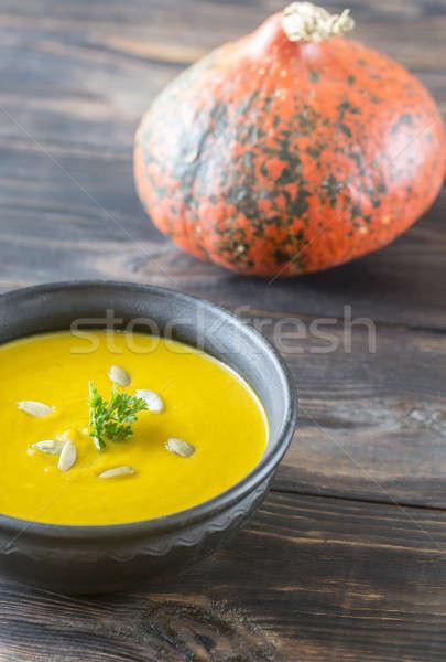 Bowl of pumpkin cream soup Stock photo © Alex9500