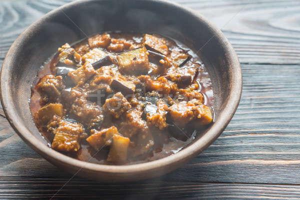 Bowl of aubergine with rogan josh sauce Stock photo © Alex9500