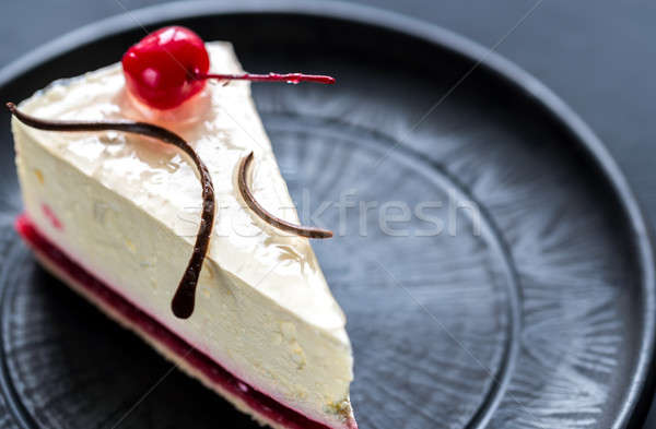 Raspberry cheesecake with sweet cherry Stock photo © Alex9500