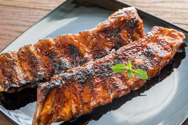 焼き 豚肉 リブ トマト キッチン 赤 ストックフォト © Alex9500