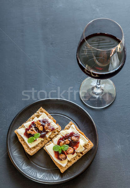 Bread with camembert cheese and jam Stock photo © Alex9500