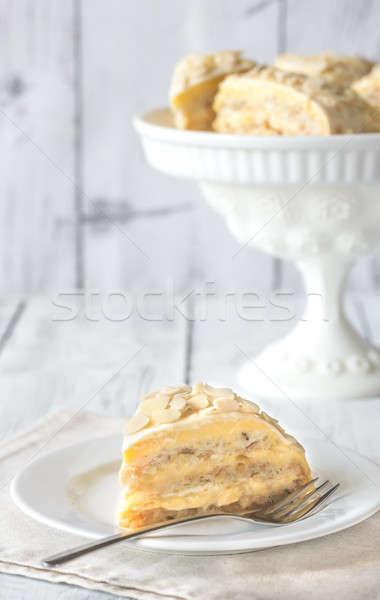 Porción egipcio torta blanco placa mesa Foto stock © Alex9500