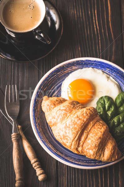 Croissant beker koffie baby donkere Stockfoto © Alex9500