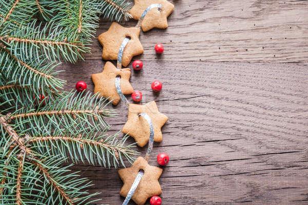 пряничный звездой гирлянда продовольствие фон зима Сток-фото © Alex9500