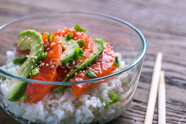 Blanche riz saumon avocat alimentaire orange Photo stock © Alex9500