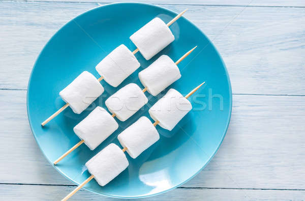 Marshmallow skewers on the plate Stock photo © Alex9500