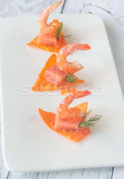 Stock fotó: Kukorica · sültkrumpli · lazac · étel · narancs · piros