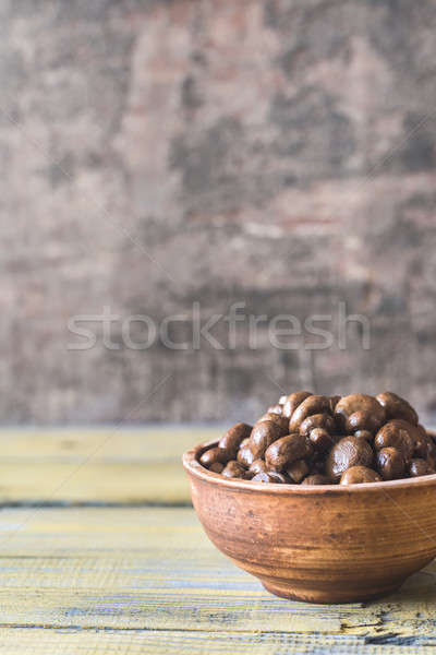 Bowl of soy balsamic roasted mushrooms Stock photo © Alex9500
