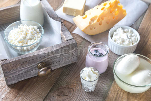 Assortiment alimentaire verre table groupe Photo stock © Alex9500