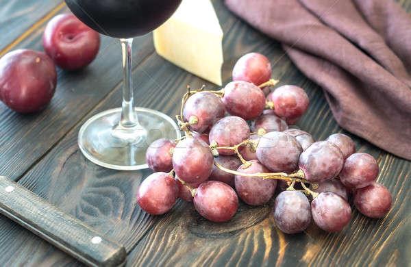 Rosso uva formaggio vetro vino rosso Foto d'archivio © Alex9500
