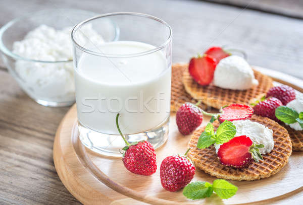 Belgian waffles with ricotta and strawberries Stock photo © Alex9500