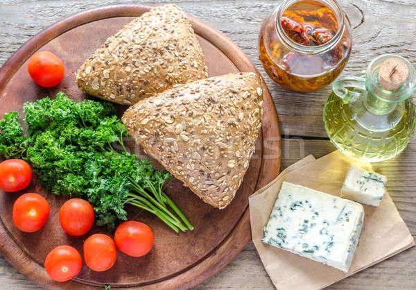 Queso azul tomates alimentos mesa azul Foto stock © Alex9500