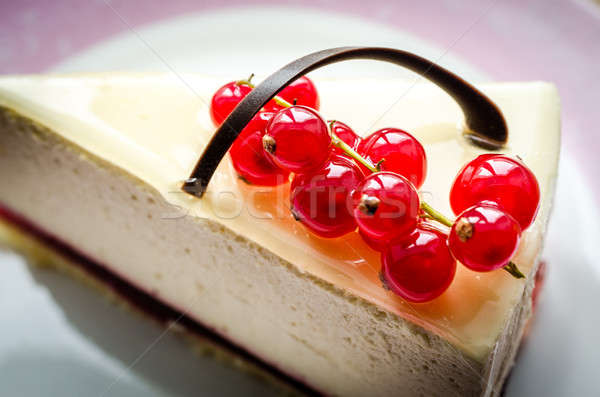 Cheesecake with redcurrant closeup Stock photo © Alex9500
