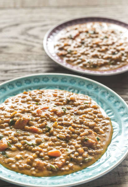Stock photo: Two portions of lentil curry