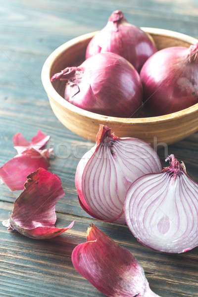 Bowl of red onions Stock photo © Alex9500