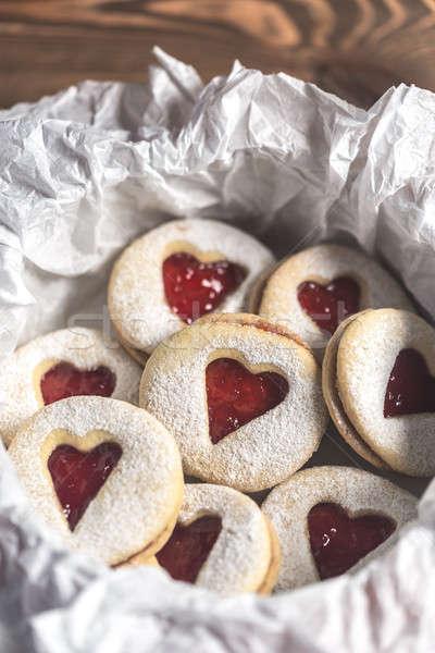Szív alakú sütik eper tömés asztal Stock fotó © Alex9500