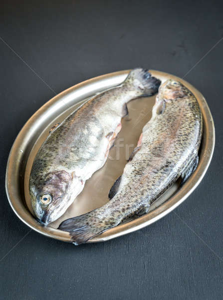 Fresh trouts in ice on the vintage metal tray Stock photo © Alex9500